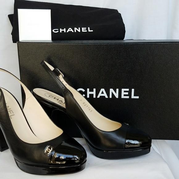 71e232dd626 NIB Chanel Slingback Pumps Size 37 1 2